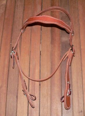 New Finest Quality Heavy Harness Leather Old Time Cowboy Western Horse Headstall