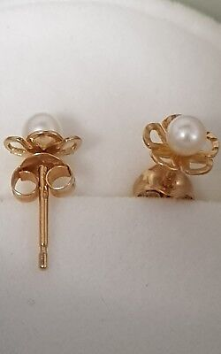 boucles d'oreilles en or 18k perle de culture