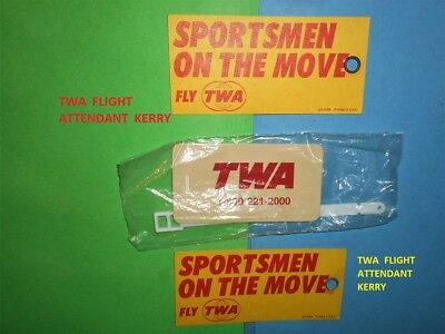 3 Twa Airlines Rare Sportsmen On The Move Rare Luggage Baggage Bag Tag Set Lot