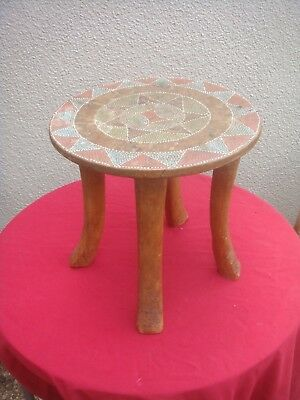 Authentic East African Kamba Beaded 4 Legged Stool Circa 1950 Used By The Elders