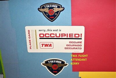 1976 Twa Airlines Seat Occupied Card 75 Years Aviation Magnet Glass Sticker Lot