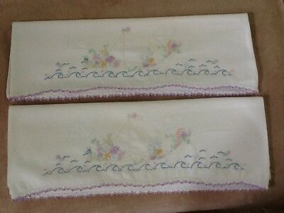 Vintage Tube beautiful embroidered ship sea scene with flowers orchid/white edge