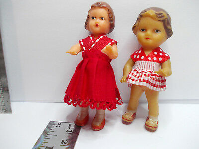 girl dolls 2 small vintage collectibles dollshouse sized small old