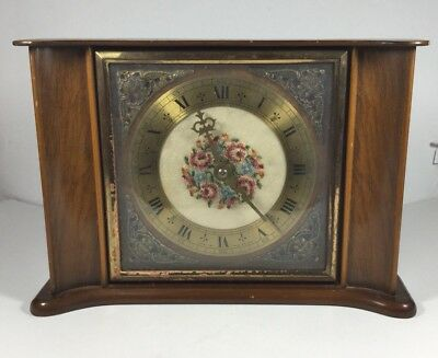 Vintage 8 Day Smiths Floating Clock Brass mounts Embroidered face spare/repairs