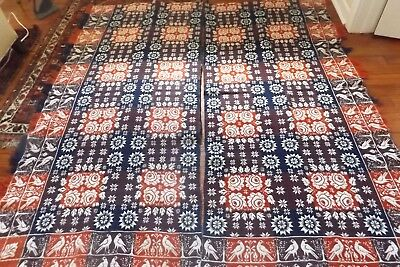 Antique Woven Coverlet with Birds and Roses...2 Pieces