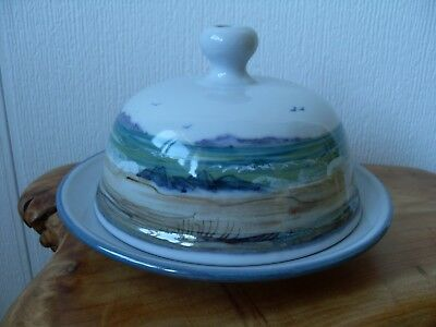 Highland Stoneware Scottish Pottery Butter Dish Seascape First Quality Signed