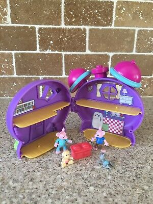 Minature Toy Mouse Clock House With Figures