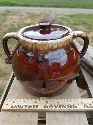 USA MADE Vintage BROWN GLOSS STONEWARE BEAN POT - 2 OPEN HANDLES & LID - EUC