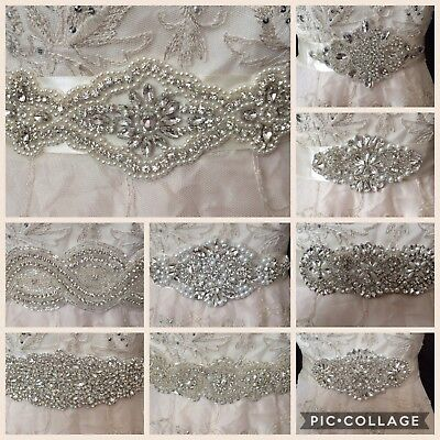 Wedding Dress Sash Belt Bridal Diamante Vintage Art Deco Nouveau Ivory Pearl