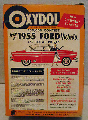 Vintage 1955 FORD CAR CONTEST-Advertising-1954 OXYDOL LAUNDRY SOAP BOX-Cleaning