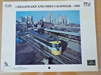 Chesapeake and Ohio  Calendar 1986 With 12 Month Descriptions