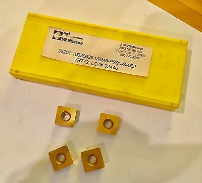 AGI VR/WESSON Carbide Inserts - VRM5-PS90-S-062 VR772 - Qty. 4 - NEW