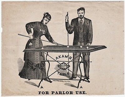 RARE - Early American Billiards Pool Advertising Flyer - ca 1860s? Akam Table