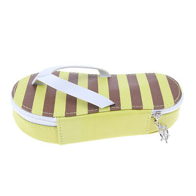 Creative Cute Flip-Flop Shape Pencil Case Pen Makeup Bag Pouch, PU Yellow