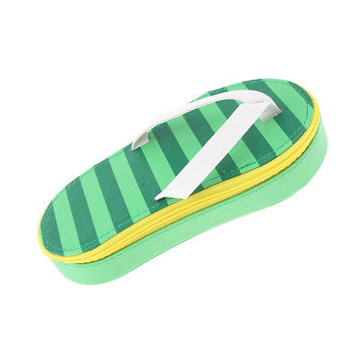 Creative Cute Flip-Flop Shape Pencil Case Pen Makeup Bag Pouch, PU Green
