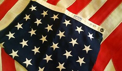 Vintage-ESTATE-FIND-48 Star US American Flag 3x5'ft-WW2-WOOL Sterling-SEWN STARS