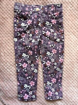 F&F Girls Purple Floral Trousers Size 12-18 Months Excellent Condition