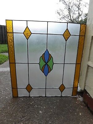 Vintage Stained Glass Window  Art Transom Architectural Salvage Blue Green Amber