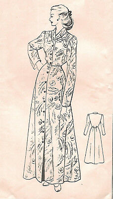 """Vintage 1950's Sewing Pattern Women's House Coat Robe Dressing Gown Bust 38"""""""