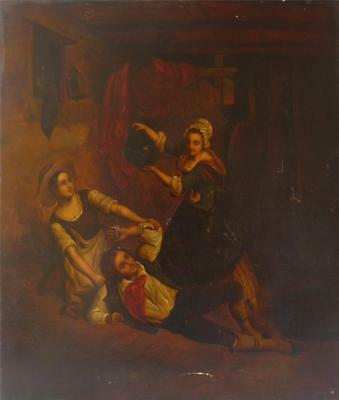 Antique Early/ Mid 19Th Century Dutch Oil On Metal A Tavern Scene