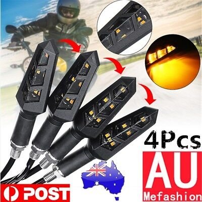 4x Universal Motorcycle Bike 6 LED Turn Light Signal Blinker Indicator Amber 12V