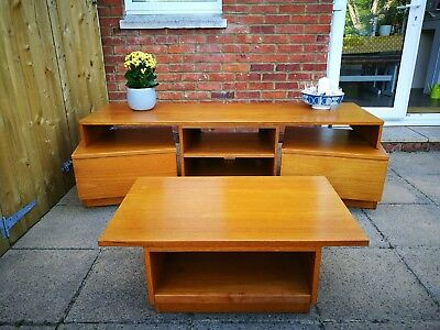 Vintage retro mid century style sideboard / tv or media unit and coffee table