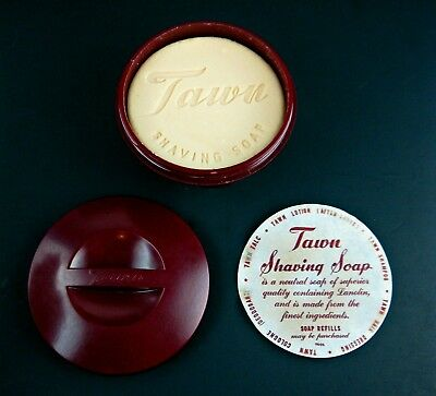 Vintage NOS Unused TAWN SHAVING SOAP Bar ART DECO Burgundy BOWL with INSERT MINT