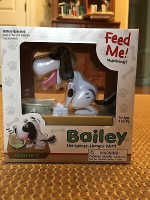 Bailey the Money-Hungry Mutt Electronic Doggy Bank  BROWN & WHITE NIB