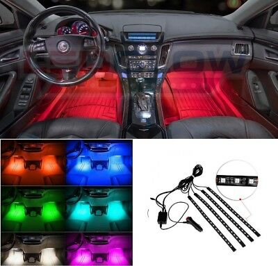 NEW! LEDGLOW 4pc 8 COLOR 18LED INTERIOR LIGHT KIT for ALL CARS ACCENT NEON GLOW