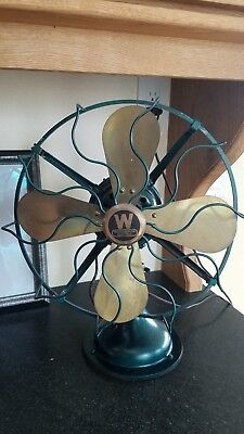 "Caged Antique / Vintage Westinghouse 12"" Solid Brass Blade Oscillating Fan"