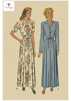 """Vintage 1940's Sewing Pattern Women's House Coat Robe Dressing Gown Bust 34"""""""