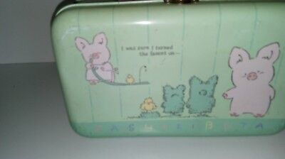zashi kibuta metal lunch box that says I was sure I turned the faucet on