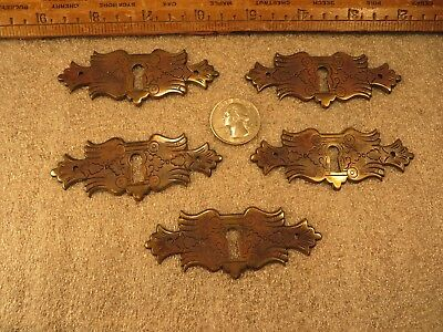 5 Antique Brass Victorian Key Hole Covers Escutcheon Ornate Leaf Restoration VGC