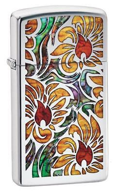 Zippo Windproof Slim Chrome Lighter With Fusion Floral Design 29702 New In Box