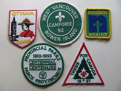 Boy Scouts Canada Lot of 5 Canadian Badges (Patches, Crests) Ottawa Niagara VTG