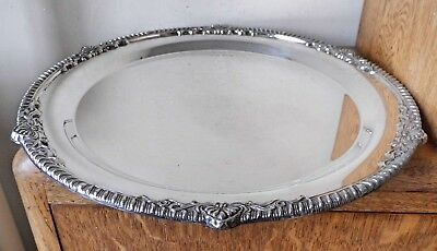 LOVELY VINTAGE 1950-60s LARGE SHEFFIELD SILVER PLATED MIRROR FINISH CIRCLAR TRAY