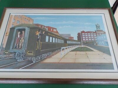 Framed & matted print of the Reading Railroad in Shamokin, Pa. (RC)