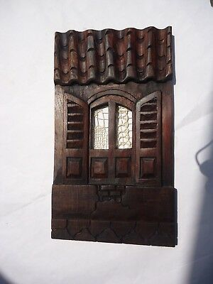 Hand carved wood panel diorama house hanging wall Tuscany 14'' TALL