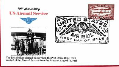 Red Airmail Forever, First Civilian Airmail Pilots, FDC, 8-11-18
