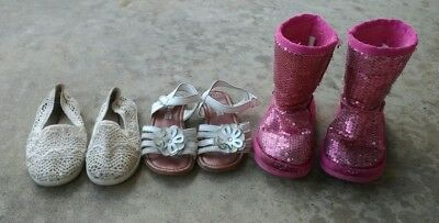 Lot Of 3 Pairs Of Little Girls Size 8 Shoes