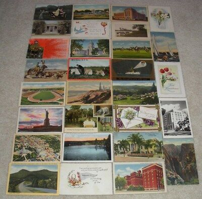 29 Old / Antique Postcards Lot (U.S. States,Roadside,Holiday,Etc.)