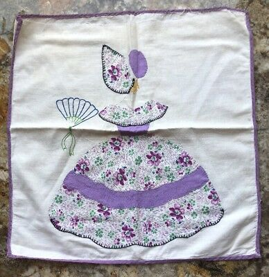 Vintage Antique Quilt Block Embroidered Lady Unfinished Pillow Cover Feed Sack