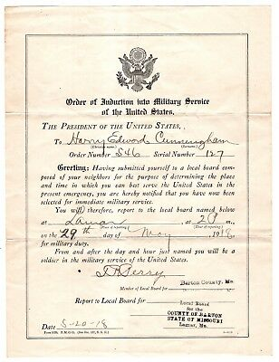 1918 Order of Induction into Military Service of the United States from The Pres