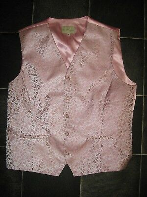 Special Occasion Size Xl Mens Pink Satin Formal Wedding Waistcoat