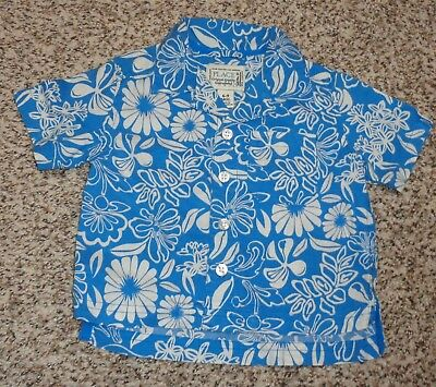 Childrens Place Baby Boys Floral Hawaiian Shirt Blue & White 6-9 Months EUC