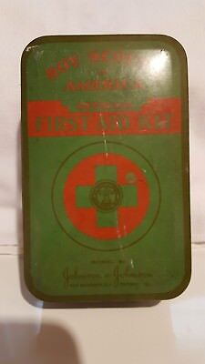 Vintage Boy Scouts of America,  Official 1940s First Aid Kit, Johnson & Johnson
