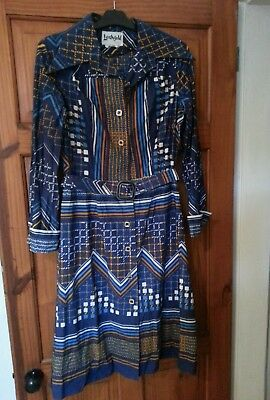 Vintage / Retro Dress Long sleeved- Blue, Orange + white pattern- M 60s/ 70s