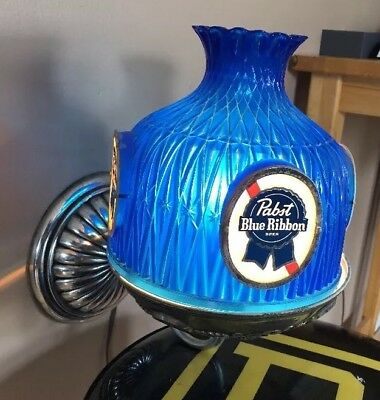 Vintage Pabst Blue Ribbon Globe Beer Light Lamp Sconce Lighted Pub Bar Sign Pbr