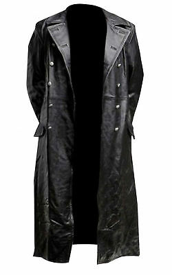 German Classic Ww2 Military Officer Uniform Black Leather Trench Coat