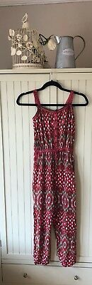GIRLS JUMPSUIT retro holiday Age 10 -11 Years LONG Red white SUMMER AZTEC